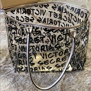 victoria's secret clear tote with wristlet